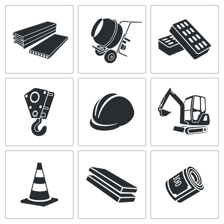 contractor: Building Vector Isolated Flat Icons collection on a white background