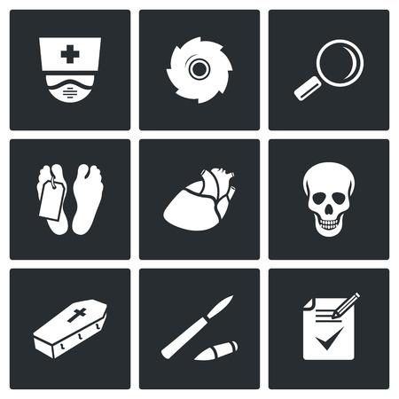 muerte: Cadáver Vector Aislado colección Flat iconos sobre un fondo negro Vectores