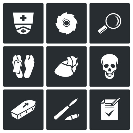 death: Dead body Vector Isolated Flat Icons collection on a black background