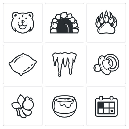 animal den: Bear vector Isolated Flat Icons collection on a white background