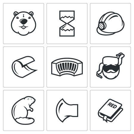 wood shavings: Beaver Vector Isolated Flat Icons collection on a white background Illustration