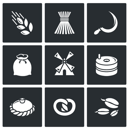 grain fields: Manufacture of bread Vector Isolated Flat Icons collection on a black background Illustration