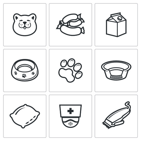 catlike: Cat Vector Isolated Flat Icons collection on a white background