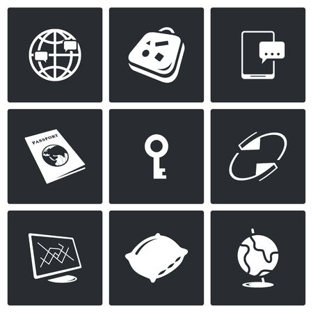 travel exchange Vector Isolated Flat Icons collection on a black background Illustration