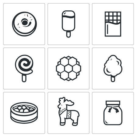 jams: Confection Vector Isolated Flat Icons collection on a white background Illustration