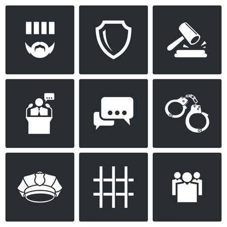 prosecutor: Detention Vector Isolated Flat Icons collection on a black background Illustration