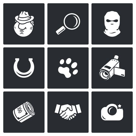 compromising: Detective Vector Isolated Flat Icons collection on a black background for design Illustration