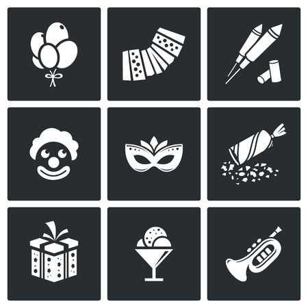 party poppers: Entertainment Vector Isolated Flat Icons collection on a black background for design