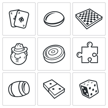 dados: Vector Colección aislado planas iconos sobre un fondo blanco para el diseño