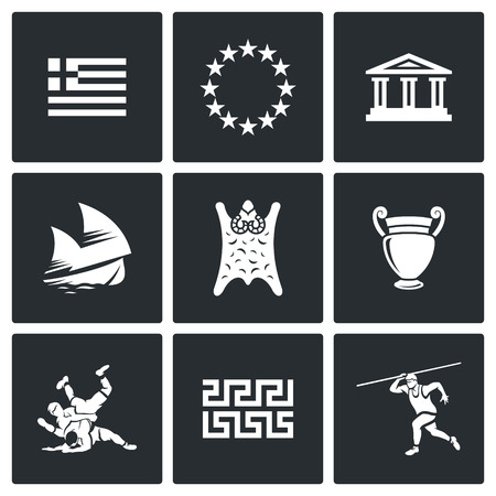 antigua grecia: Grecia Vector Aislado colección Flat iconos sobre un fondo negro para el diseño