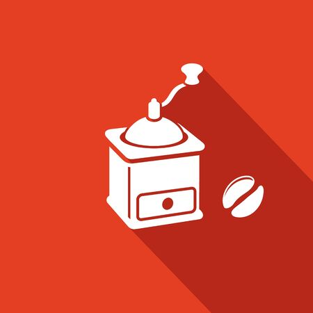 coffee mill: Coffee mill Vector Isolated Flat Icon collection on a red background