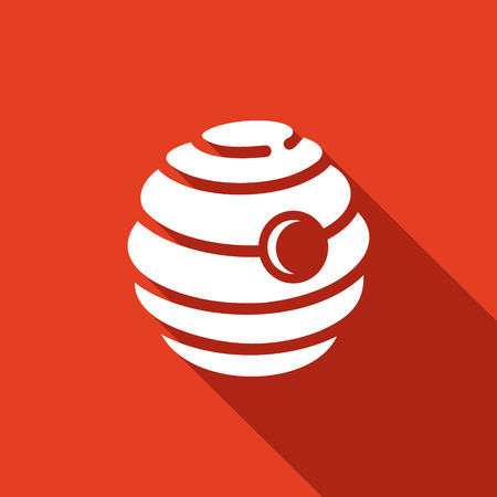 beehive: beehive Vector Isolated Flat Icon on a red background for design