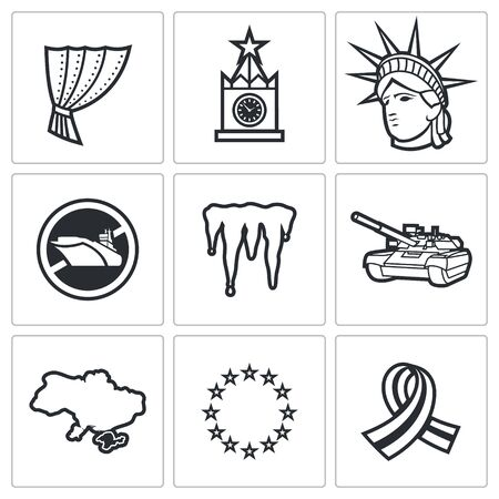 cold war: Cold War Vector Isolated Flat Icons collection on a white background for design