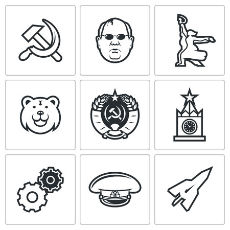 soviet union: Soviet union Vector Isolated Flat Icons collection on a white background for design