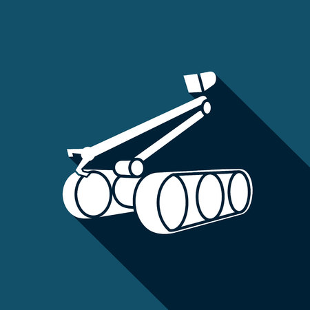 radio unit: Bomb robot Vector Isolated Flat Icon on a dark background for design Illustration