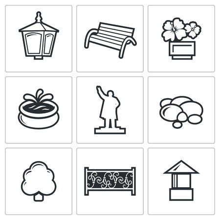 landscaping: Landscaping Vector Isolated Flat Icons collection on a white background for design
