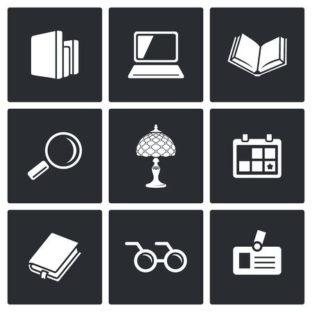 cognitive: Library Vector Isolated Flat Icons collection on a black background for design