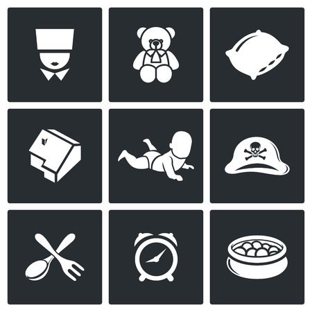 toy chest: Childhood Vector Isolated Flat Icons collection on a black background for design
