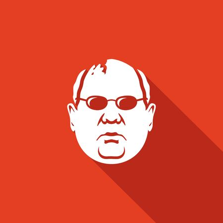 former: man Vector Isolated Flat Icon on a red background for design