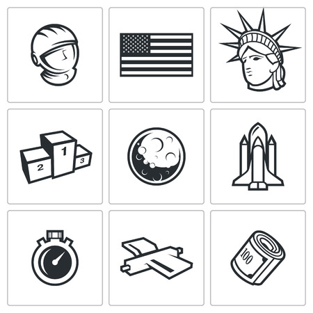 spaceport: Space Vector Isolated Flat Icons collection on a white background for design