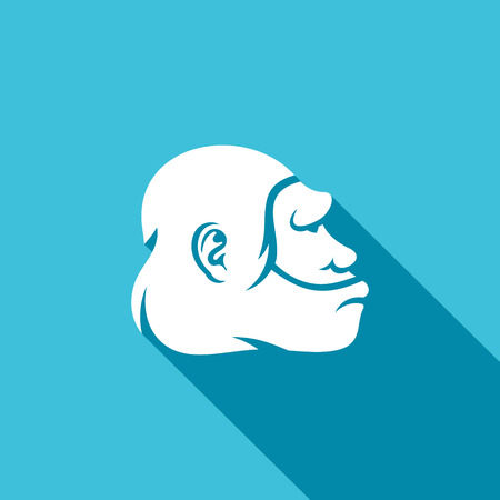 neanderthal: Neanderthal face Vector Isolated Flat Icon on on a blue background for design