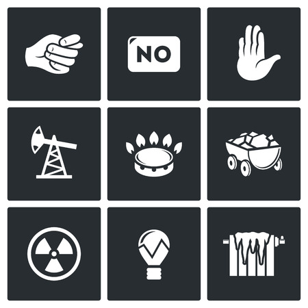 natural resources: natural resources Vector Isolated Flat Icons collection on a black background for design Illustration