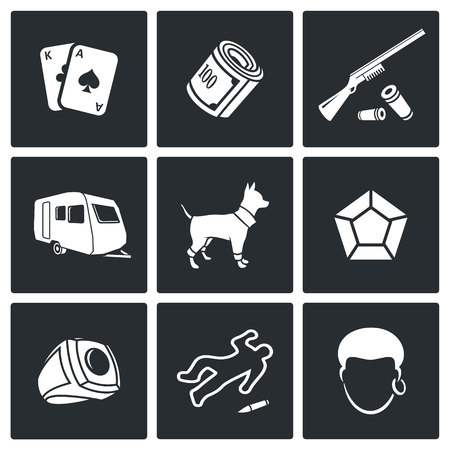 nomadism: Romany Vector Isolated Flat Icons collection on a black background for design