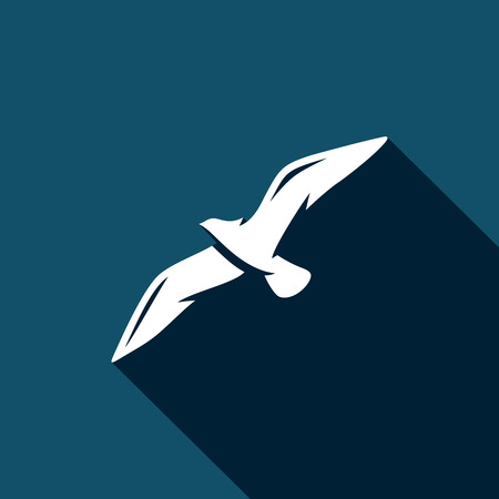Silhouettes of seagulls Vector Isolated Flat Icon on a dark background for design Illustration