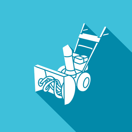 blower: Snow blower Vector Isolated Flat Icon on a blue background for design