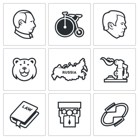 voters: Russia Vector Isolated Flat Icons collection on a white background for design
