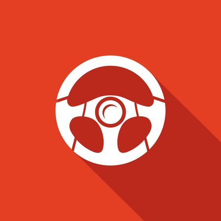 wheel car: Car wheel Vector Isolated Flat Icon on a red background for design