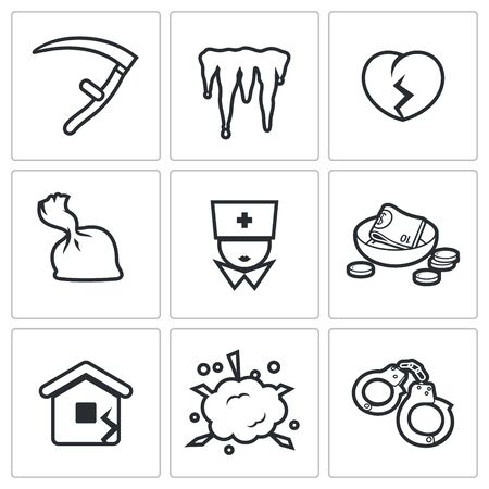 artistic addiction: Unhappiness Vector Isolated Flat Icons collection on a white background for design