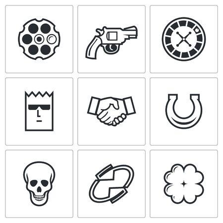 pistola: Ruleta rusa Vector Aislado colección Flat iconos sobre un fondo blanco para el diseño Vectores