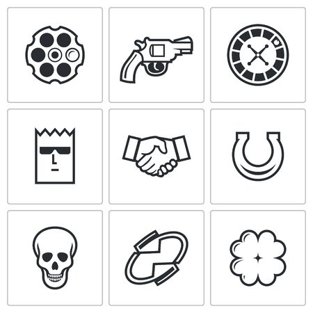Russian roulette Vector Isolated Flat Icons collection on a white background for design Çizim