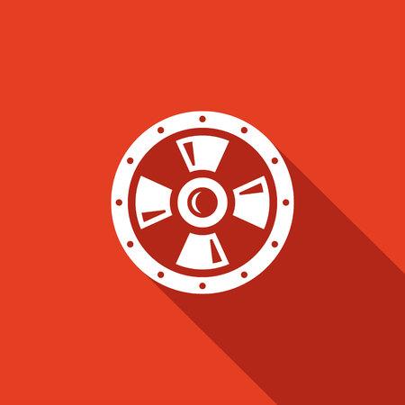 escudo: Escudo Vector Aislado Icono plana sobre un fondo rojo para el diseño