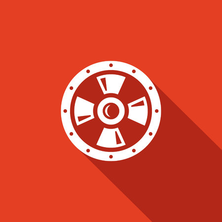 military shield: Shield Vector Isolated Flat Icon on a red background for design