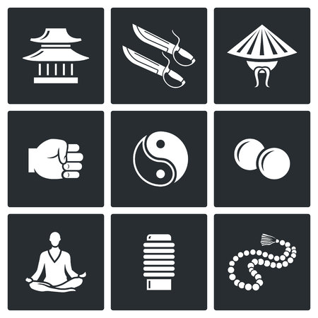 meditation isolated white: martial art Vector Isolated Flat Icons collection on a black background for design
