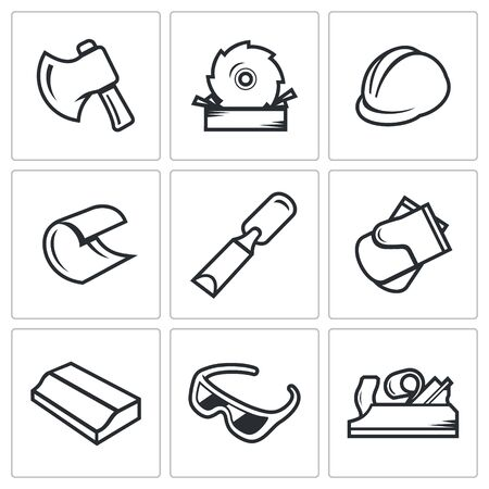 felling: Woodworking Vector Isolated Flat Icons collection on a white background for design