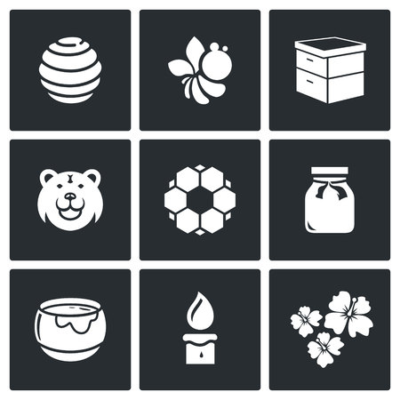mead: Vector Isolated Flat Icons collection on a black background for design Illustration