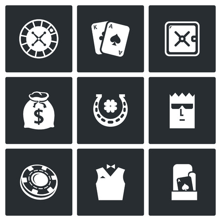 manic: Vector Isolated Flat Icons collection on a black background for design Illustration