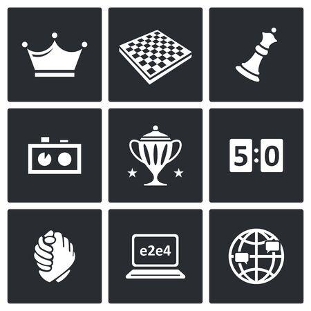 ajedrez: Vector Colección aislado planas iconos sobre un fondo negro para el diseño