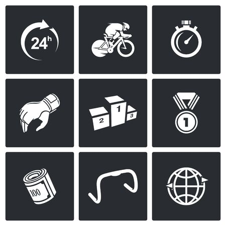 biking glove: Vector Isolated Flat Icons collection on a black background for design Illustration
