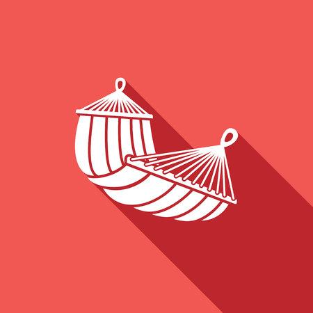 hamaca: Vector icono aislado plano sobre un fondo rojo para el diseño
