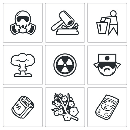 nuclear accident: Vector Isolated Flat Icons collection on a white background for design