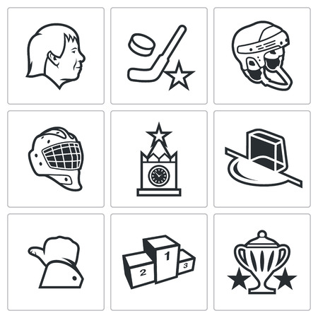 hockey: Vector Isolated Flat Icons collection on a white background for design