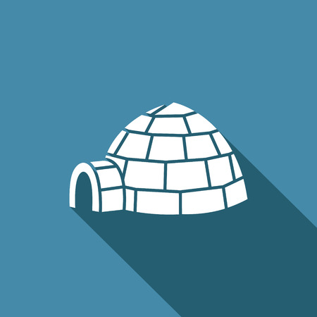 igloo: Vector Isolated Flat Icon on a blue background for design
