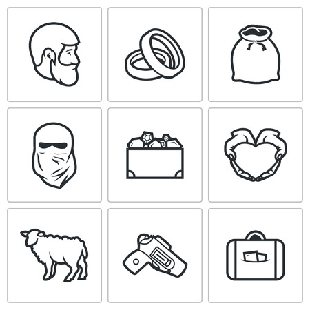 redemption: Vector Isolated Flat Icons collection on a white background for design