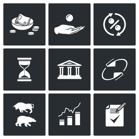 financial institutions: Vector Isolated Flat Icons collection on a black background for design Illustration