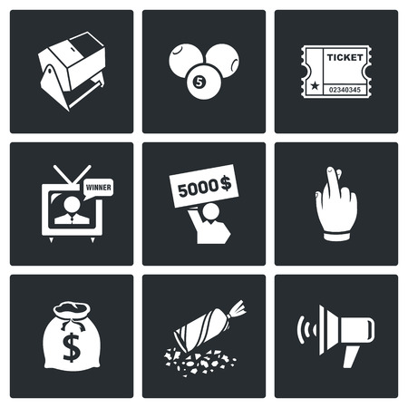 lottery: Vector Isolated Flat Icons collection on a black background for design Illustration
