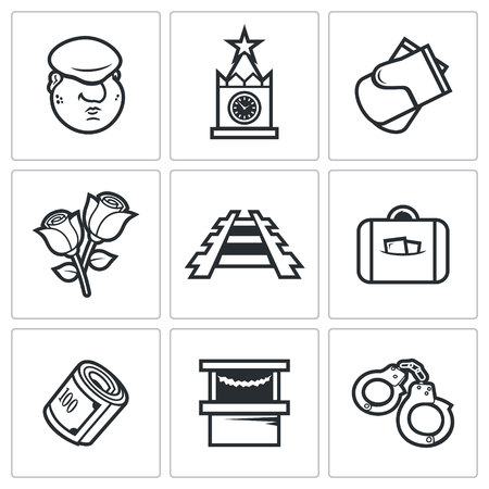 expulsion: Vector Isolated Flat Icons collection on a white background for design